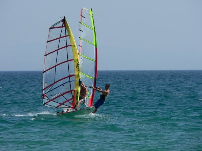 Practise windsurf and banana boat in Gandia beach