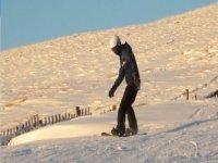 Snowboarding in Teesdale.