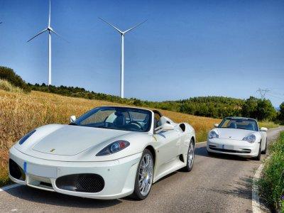 Ferrari F430 route and Porsche 911