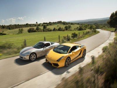 Driving a Lamborghini and Corvette Barcelona 40 km
