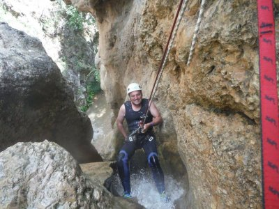 Water canyoning in Aguas del Buitre high level