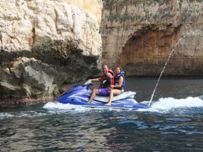 Jet ski in Moraira with banana and raft