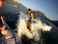 Wakesurfing after a tow boat