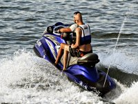 Jet skiing through the waves