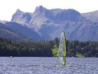 Windsurfing on the scenic lake