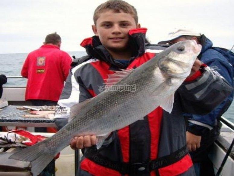 A caught bass