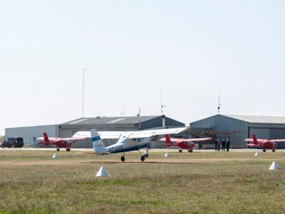 Biplane and period light aircraft flight in Lleida