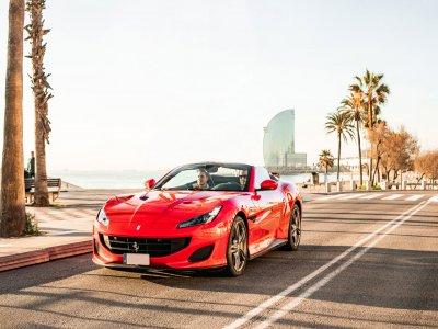 Route on Ferrari California 20' Barcelona beach