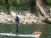 Paddleboarding with man´s best friend