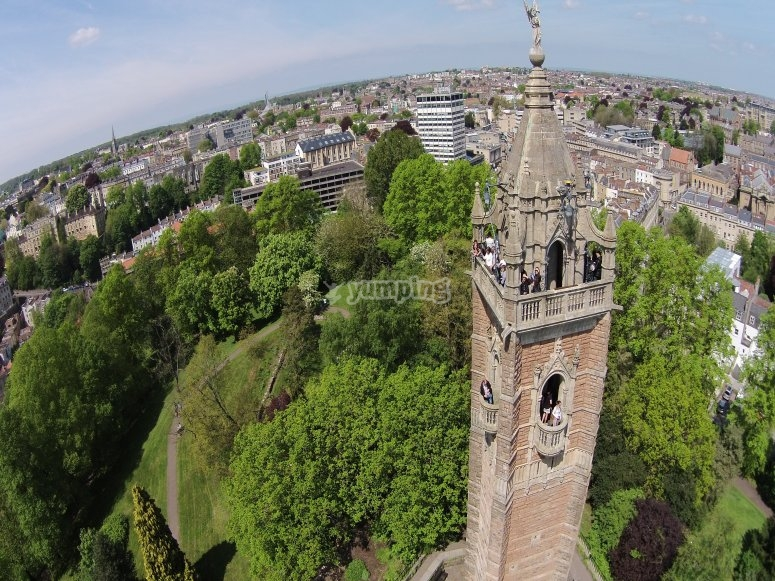 Aerial photo of the top of Cabot Tower