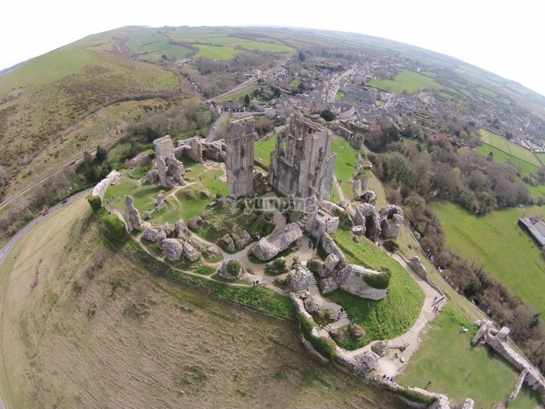 Corfe Castle seen from above