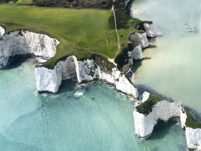 Aerial view of Old Harry rocks