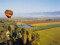 Ballooning over fields and houses