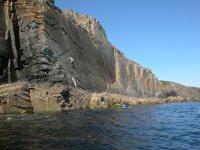 Rock climbing on the lake