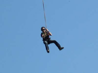Bungee jumping and a dip in Gerena, 82 feet