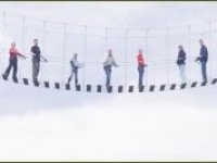 All out on the rope bridge