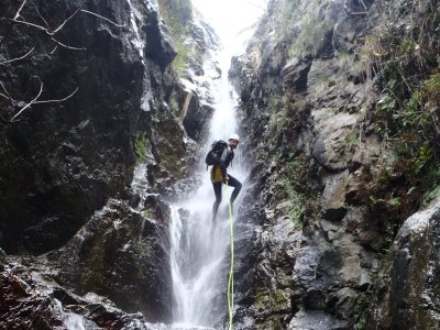 Winter canyoning in thermal waters Pyrenees