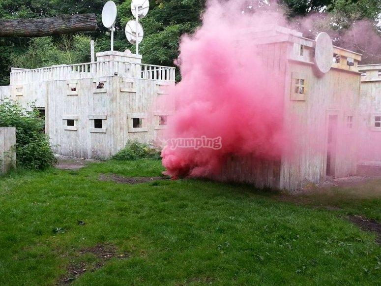 Pink smoke while playing laser tag