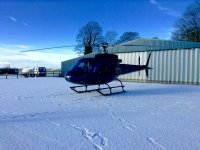 Helicopter flight on the snow
