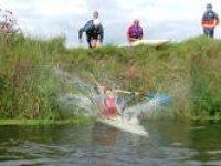 kayak jumping in