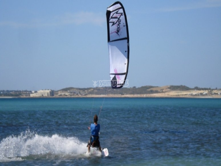 Kitesurfing on a beautiful day