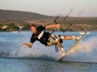 Skilled kitesurfer