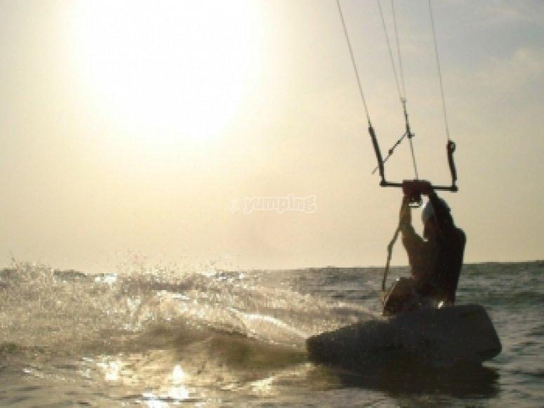 Kitesurfing at Dusk