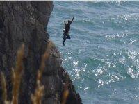 Flying coasteering leap
