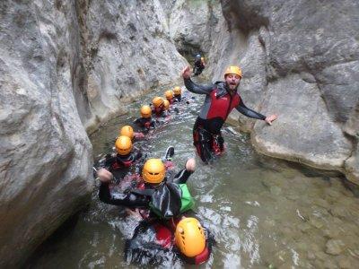 Starting canyoning session, Forat de Boixols