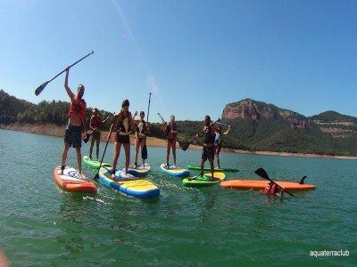 Paddle surf excursion in Susqueda reservoir