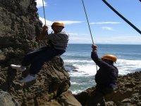 Abseiling down the sea cliffs