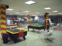 A great room to wait in for your laser tag game.