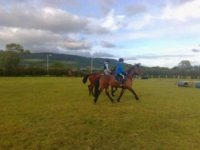 Riding on our open field
