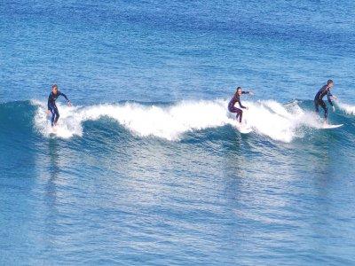 Surfing baptism in Moaña's coast