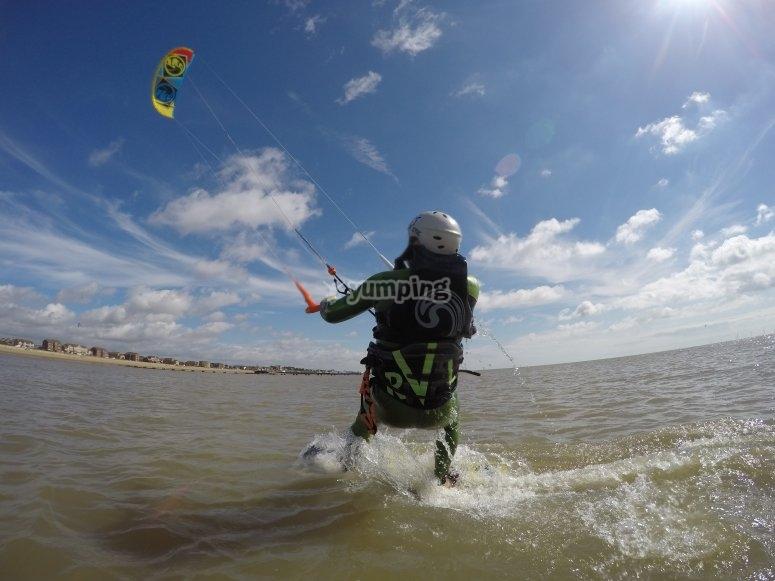 Kitesurfing in stunning waters