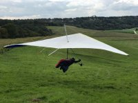 Safe landing with Green Dragons Hang Gliding!