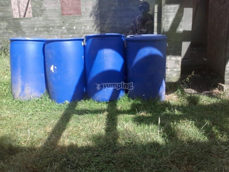 Barrels at the field