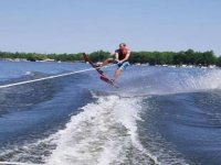 Waterskiing is a great activity.