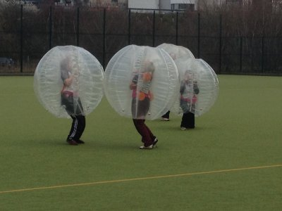 Bubble football tribe battle lunch south Madrid