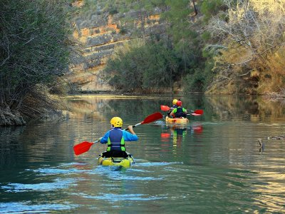 Kayak route across Almadenes canyon and photos