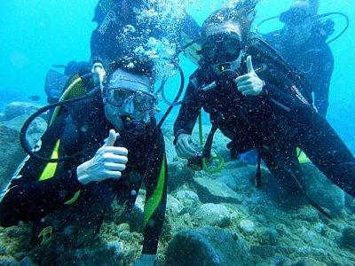 Scuba diving baptism from a boat Puerto de la Cruz