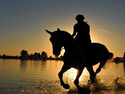 Night horse riding route in Torremolinos beach