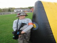 There are inflatable obstacles to hide behind