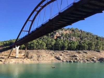 Bungee jumping from 30-meter Mula bridge