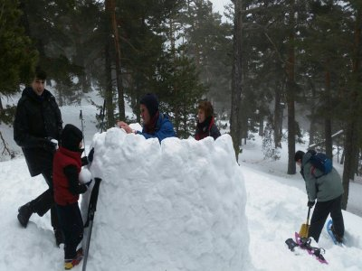 Snowshoes tour and igloo building in Navacerrada