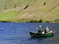 Boats are available for hire to fish on the lake