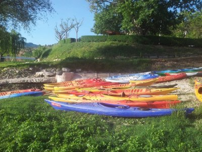 Canoeing in the river Ebro's meander, Flix