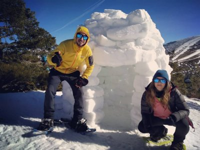 Snowshoes plus igloo and sled in Madrid 4 h