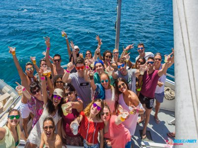 Boat party in Ibiza with disco