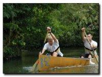 Paddling the open canoe